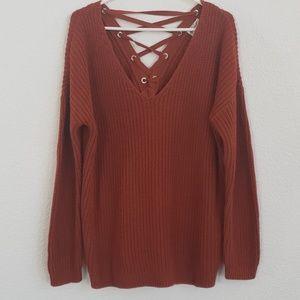 Hippi Rose Criss Cross Tunic Sweater, Size XL